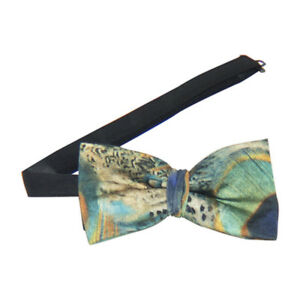 Peacock Print Banded Bow Tie