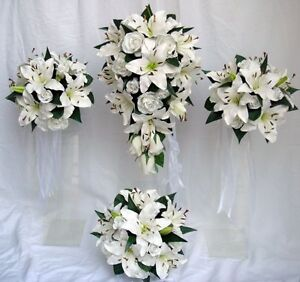 Image Is Loading Wedding Bouquet Set White Lily Amp Roses Real