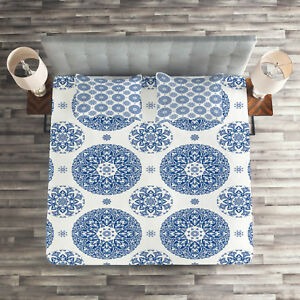 Paisley Quilted Coverlet & Pillow Shams Set, Vintage French Blue Print