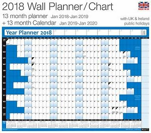 2018 Year Planner Wall Chart Poster Inc 2019 Calendar For