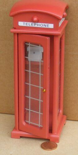 Escala 1:12 Caja De Teléfono Rojo tradicionales británicas tumdee Casa De Muñecas En Miniatura