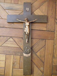 KRUZIFIX-JESUS-AM-HOLZ-KREUZ-HOLZ-MESSING-KIRCHE-ANTIK-MARIANISCHES-JAHR