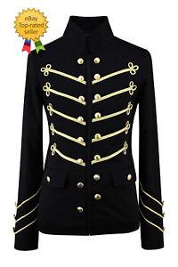 De-hombre-hecho-a-mano-de-oro-bordado-Negro-Chaqueta-Militar-Napoleon-Gancho-100-algodon