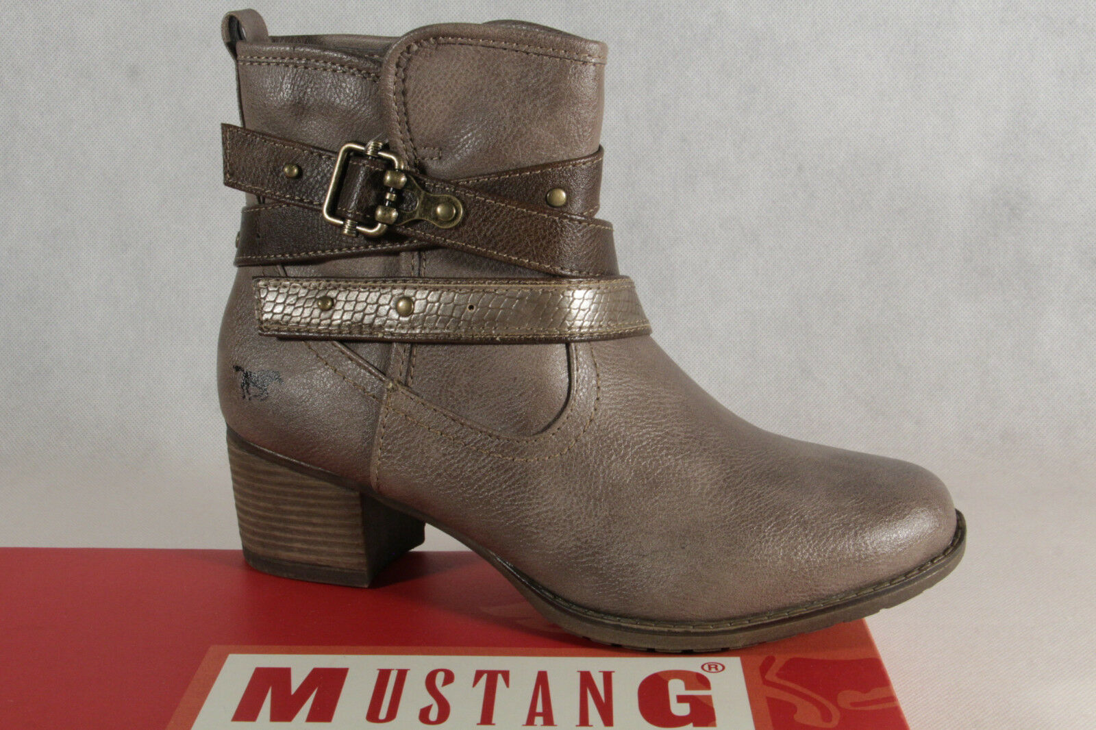 Mustang Women's Boots Ankle Boots Taupe Brown Lightly Lined 1197 New