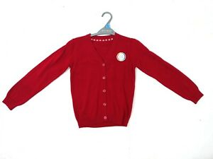 Details about Girls Ex Store Red Cotton School Cardigan Ages 3,4,5,6,7,8,9,10,11,12,13 NEW