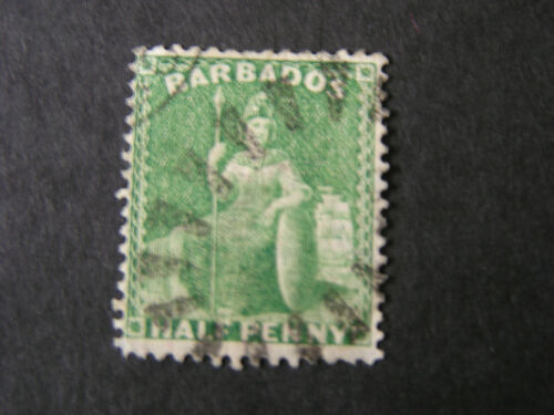 BARBADOS, SCOTT # 15, 1/2p. VALUE GREEN 1861 BRITANNIA ROUGH PERF. ISSUE USED