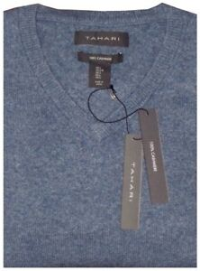 NW-TAHARI-HEATHER-BLUE-GRAY-PLUSH-100-CASHMERE-PULLOVER-V-NECK-SWEATER-JUMPER-L