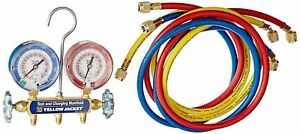 YELLOW JACKET 42004 - Series 41 Manifold 3-1/8-Inch Gauges with Hoses R22 404A 410A