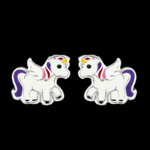 925-Sterling-Silver-Unicorn-Stud-Earrings-Pink-Purple-Tail-Wing-Women-Children