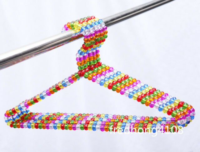 5pc Multicolor Acrylic Plastic Beads Clothes Hangers Coat T-shirt Hanger