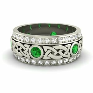 Image Is Loading Certified Emerald Amp G Si Diamond 14k White