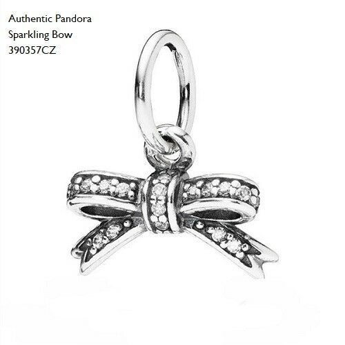 Authentic pandora sparkling bow pendant clear cz 390357cz ebay authentic pandora sparkling bow 925 sterling silver bead 390357cz pn17 aloadofball Images