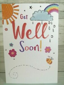 Get Well Soon! Greetings Card With Glitter