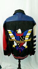 JEFF HAMILTON Hand Embroidered American Bald Eagle Denim Leather Jacket Sz Large