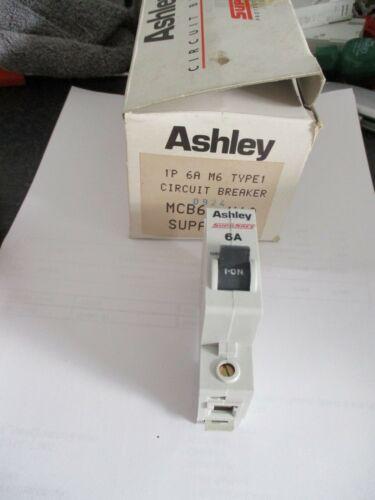 NEW ASHLEY SUPASAFE 6A 6 AMP MCB6 12892 SINGLE POLE MCB CIRCUIT BREAKER