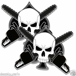 "Logger's Crossbones 2 Decal stickers arborist CHAINSAW spade skull 5"" set of 2"