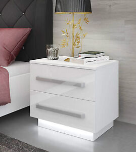 White Bedside Cabinet / Table / FREE LED !! / High Gloss / Bedroom ...