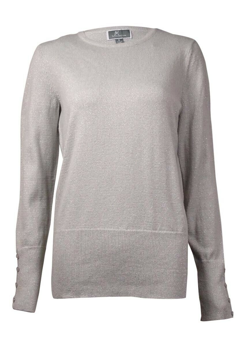 JM Collection Women's Metallic Buttoned-Sleeves Sweater