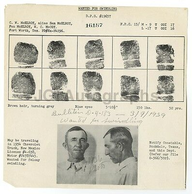 Mcelroy Rockdale Tx 1939 At Any Cost Swindling Wanted Notice C.w