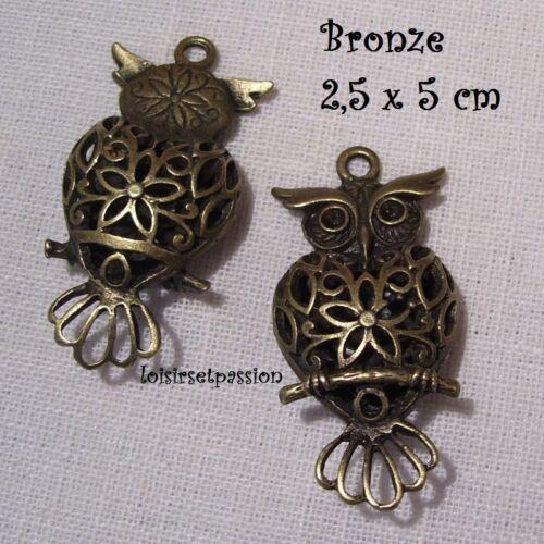CHOUETTE HIBOU 3D CISELÉ Bronze 2,5 x 5 cm 406 BRELOQUE CHARM PENDENTIF