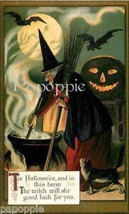 Fabric-Block-Halloween-Vintage-Image-Witch-Postcard-on-Fabric