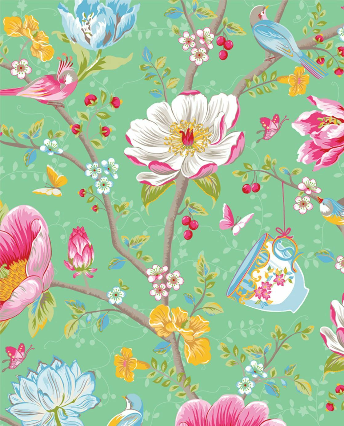 341005 Pip Studio 3 Chinese Garden Green Multicoloured