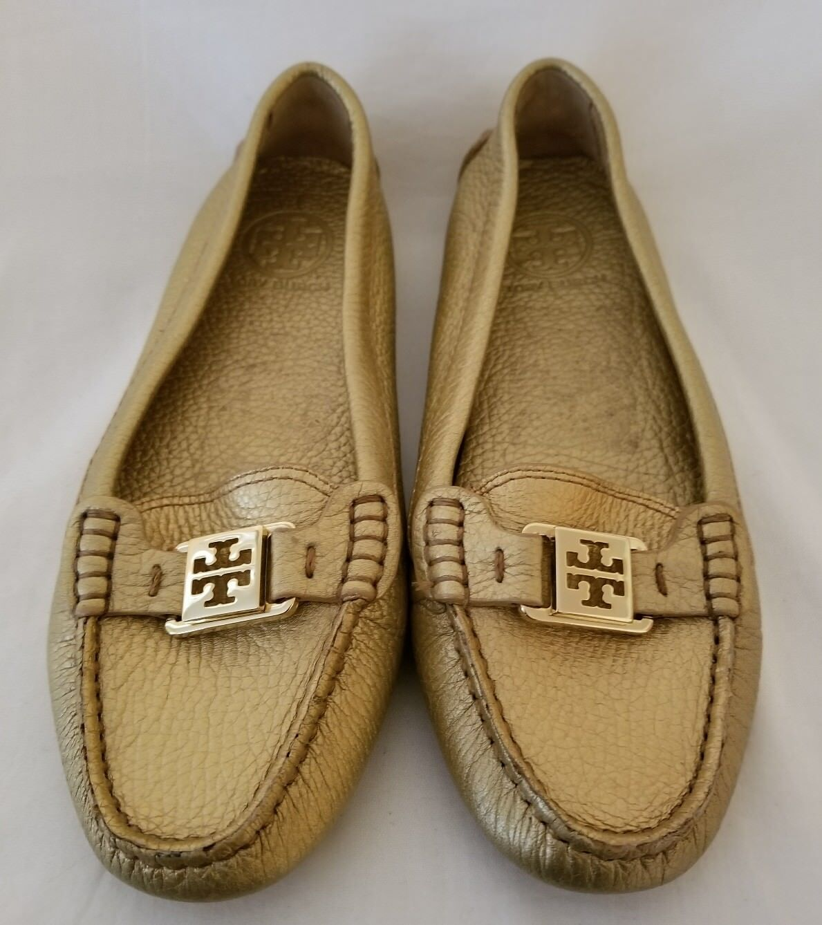 Tory Burch Kendrick Pebbled gold Leather Leather Leather Driving Flats Slip On Loafers Size 7.5 697e62