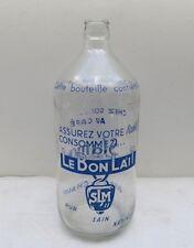 Bouteille en verre ancienne de lait Le bon lait SLM