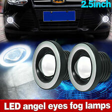 "2.5"" Car COB LED Fog Light Projector White Angel Eye Halo Ring DRL Driving Bulbs"