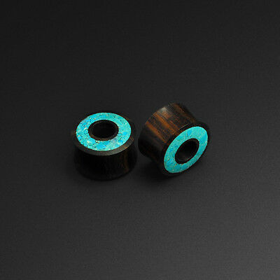 Sono Wood with Crushed Turquoise Halo Tunnel Plug Organic Wooden Ear Stretcher