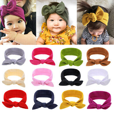 Baby Big Bowknot Printed Infant Wide Headband Newborn Top Knotted Soft Headwrap