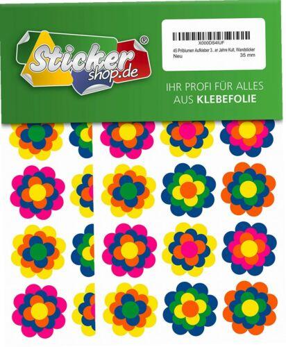 45 Prilblumen Aufkleber 35 mm Wandsticker Retro Style 70er Jahre Kult