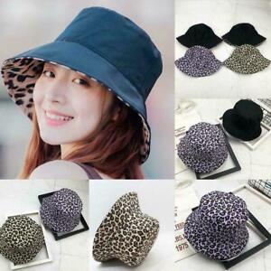 Double-Sided-Women-Leopard-Print-Bucket-Hat-Outdoor-New-Cap-Fisherman-Sunsh-M1K0