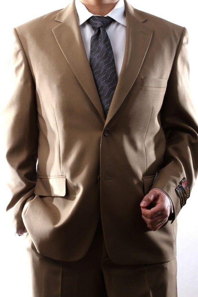 Herren SINGLE BREASTED 2 BUTTON TAN DRESS SUIT SIZE 36S, PL-60212N-204-TAN