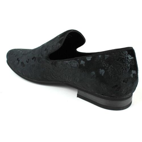 ÃZARMAN Men/'s Slip On Black Velvet Leopard Print Dress Shoes Loafers LS17