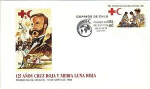 Chile-1988-FDC-125-anos-Cruz-Roja-y-Media-Luna-Roja-Red-Cross