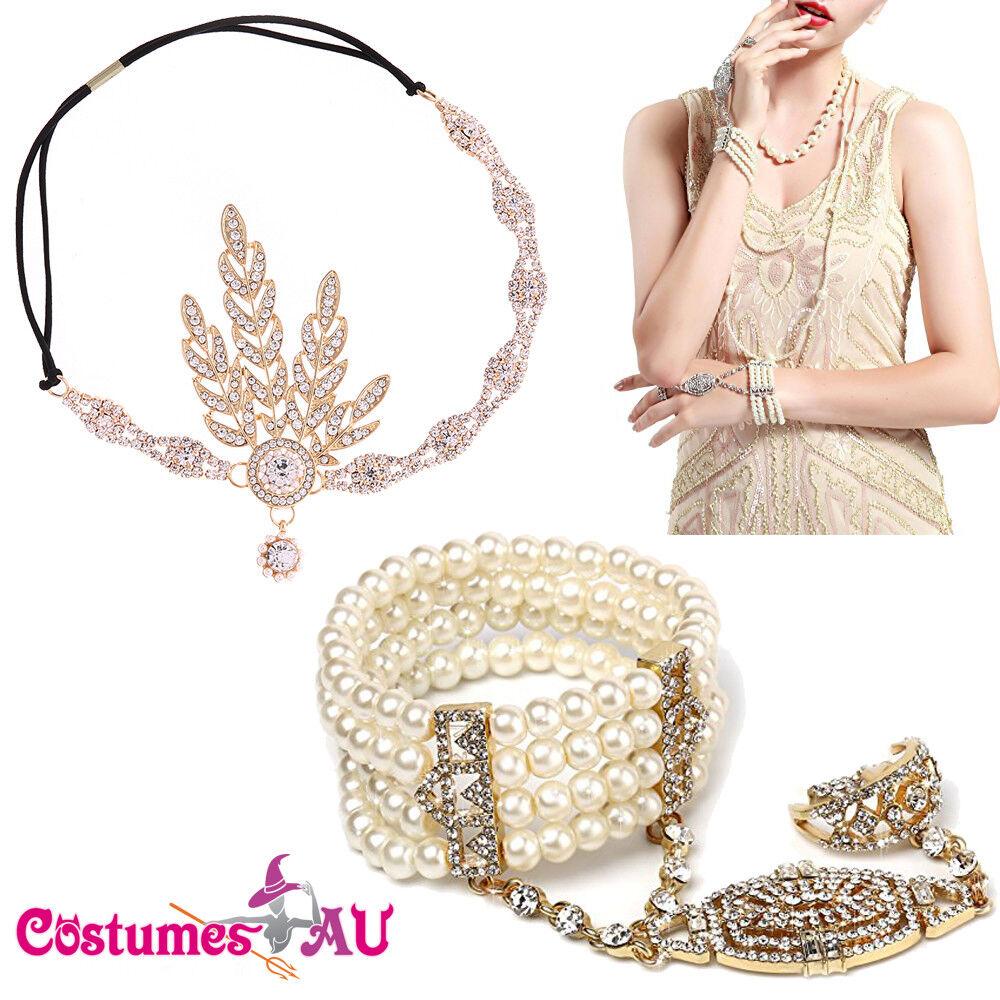 Gold 1920s Headband + Bracelet Ring Set 20s Vintage Bridal Gatsby Party Costume