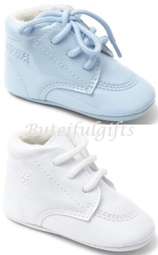 Sevva Baby Boys Spanish Patent Soft Sole Shoes Boots White or Blue **Small Fit**