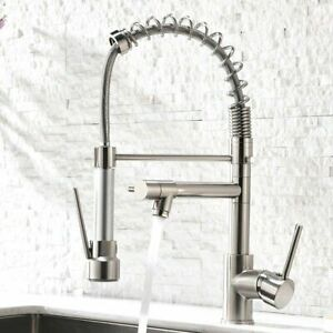 Commercial Kitchen Sink Faucet Brushed Nickel w/ Pull Down Sprayer Single Handle