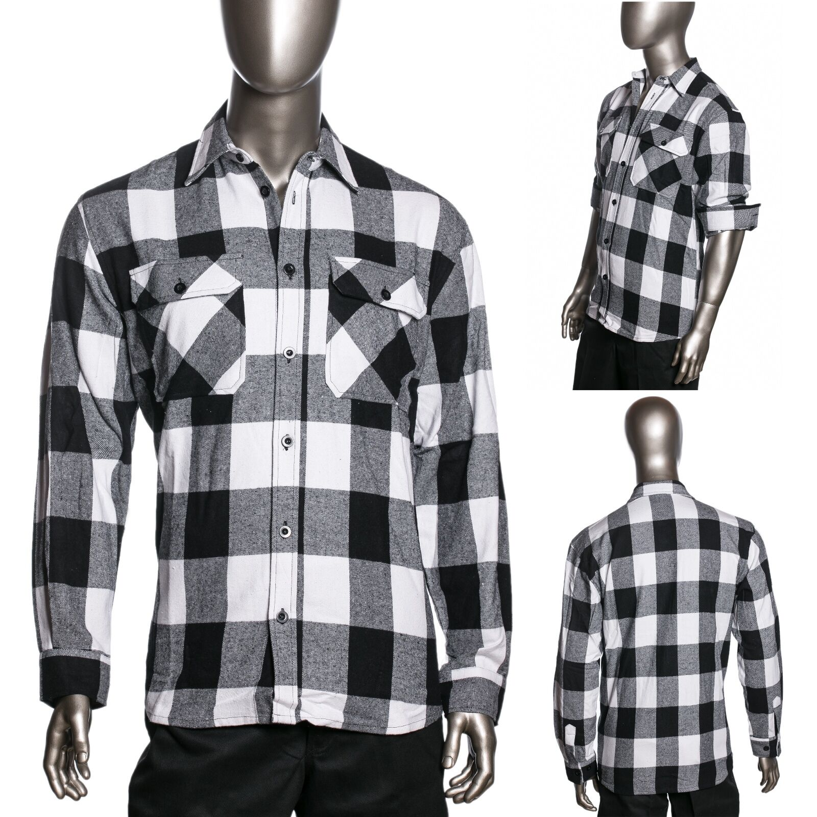 Hg Mens Brawny Buffalo Plaid Flannel Shirt Long Sleeve