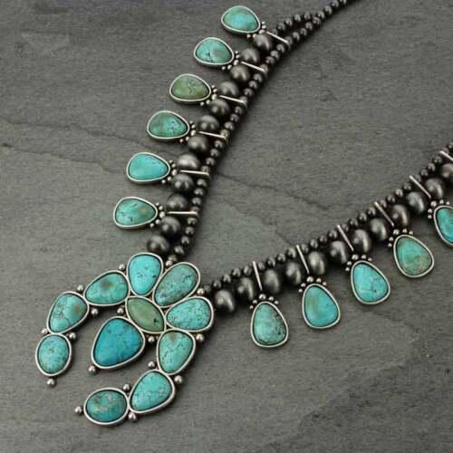 *NWT* Bigger Full Squash Blossom Natural Stone Necklace-7317070089