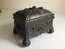Antique Victorian Metal Antimony Casket - Jewel Casket.