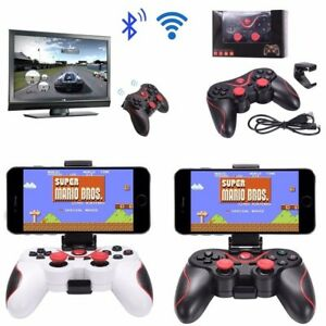 Calvas 3in1 Bluetooth Gamepad Game Controller Wireless Selfie Remote Shutter For Iphone IOS SAMSUNG PC laptop TV Box Color: Black