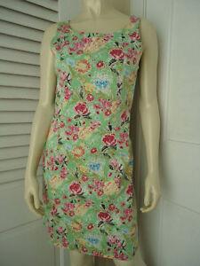 YUKA-RESORT-Dress-4-Cotton-Spandex-Sheath-Multi-Colored-Floral-Butterfly-Print