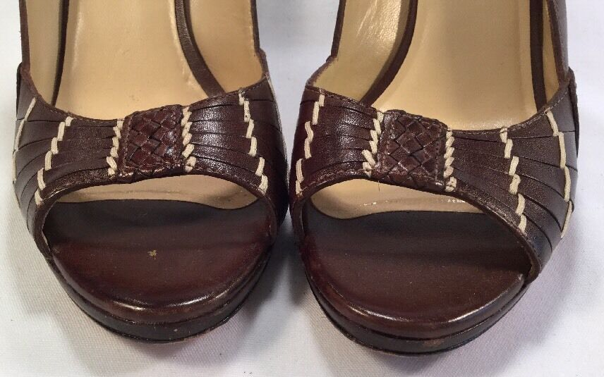 COLE HAAN BROWN WOVEN LEATHER OPEN TOE TOE TOE PLATFORM SLINGBACKS SIZE 6B f8380d
