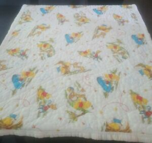 Disney Winnie The Pooh VTG Baby Security Blanket  SEARS honey pot quilt Flaws