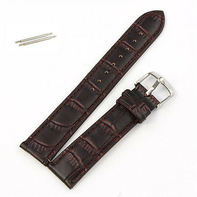 1PC 18~22mm Genuine Leather Strap Steel Buckle Wrist Watch Band Soft