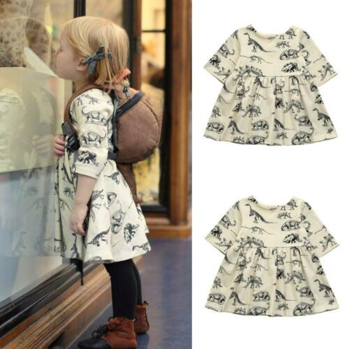 Toddler Infant Baby Girls Cartoon Dinosaur Print Sun Dresses Clothes Outfits
