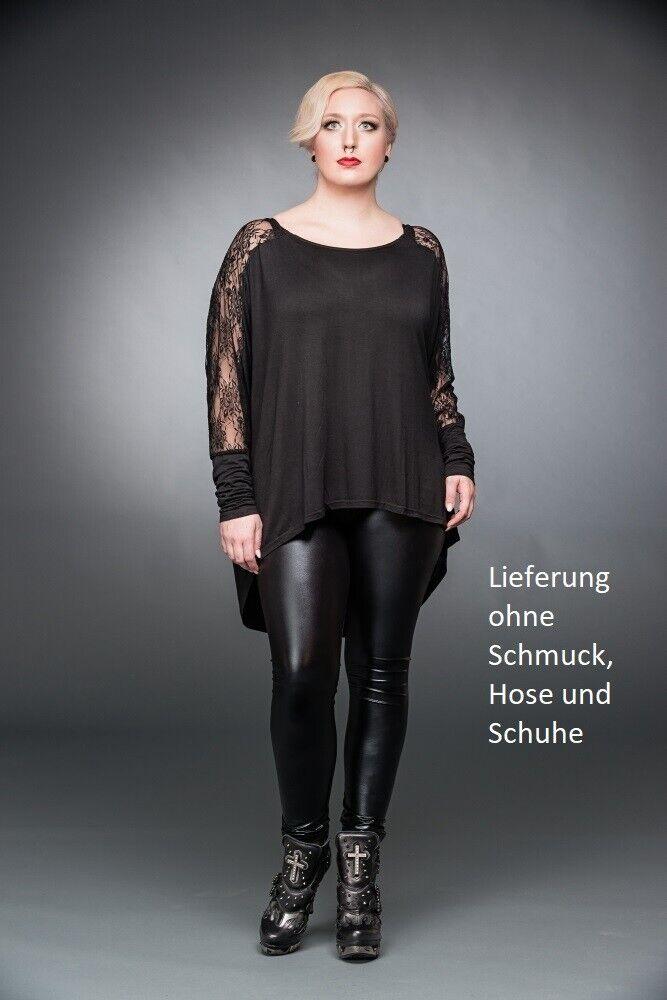 Langarm Shirt mit schwarzer Spitze in Rosanmuster Queen of Darkness SH12-375