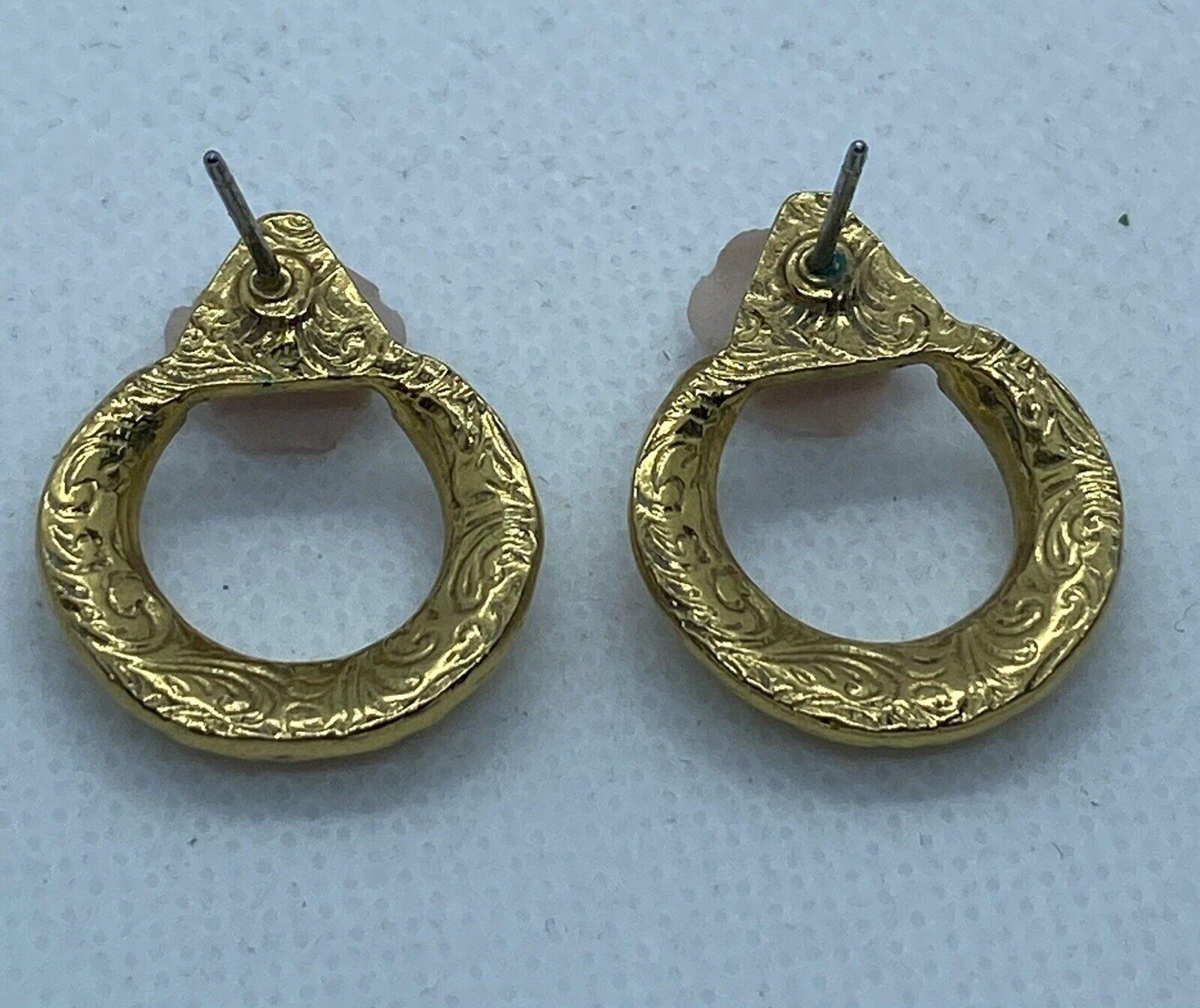 Vintage Ornate Gold Tone Lace Porcelain Rose Pear… - image 4